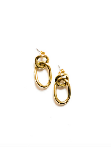 Linked Earrings, Brass