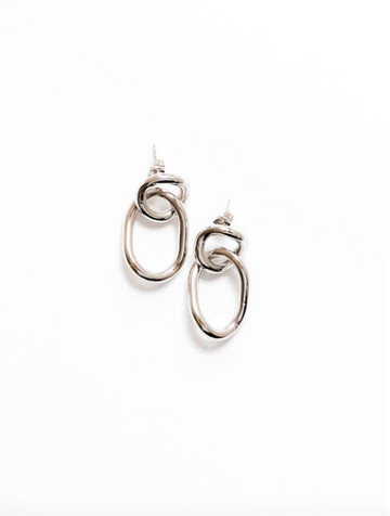 Linked Earrings, Silver