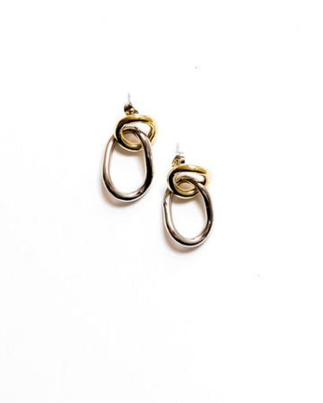 Linked Earrings, Mixed Metal