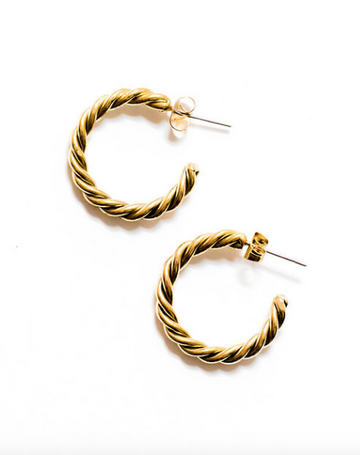 Spiral Earrings, Brass