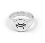 Barbed Wire Signet Ring - Sterling Silver