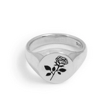 Rose Signet Ring - Sterling Silver