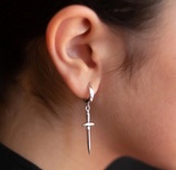 Dagger Earring - Single - Sterling Silver
