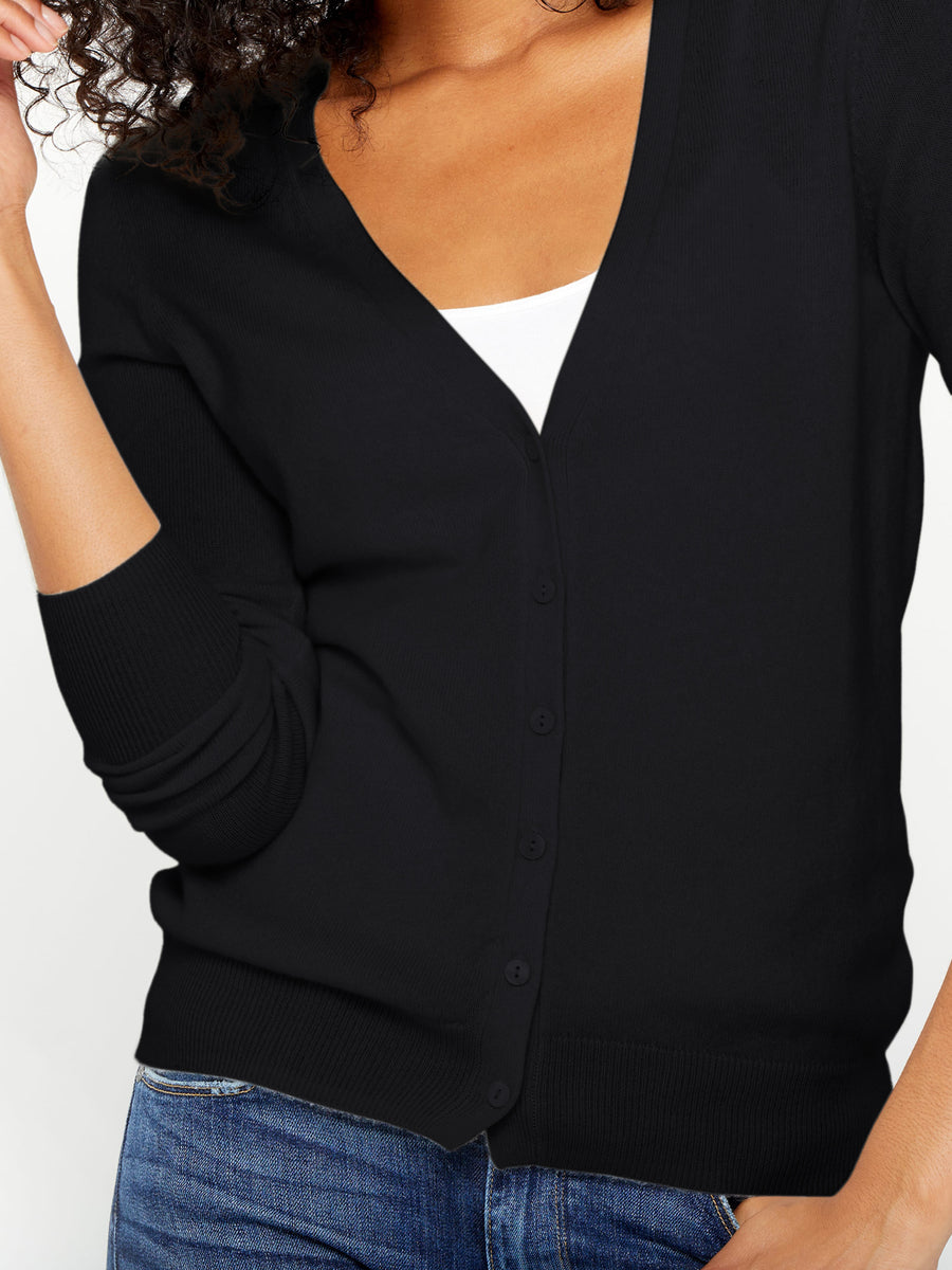 V-Neck Button Cashmere Cardigan