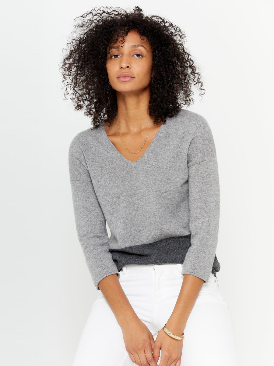 Color Block V-Neck Cashmere Sweater
