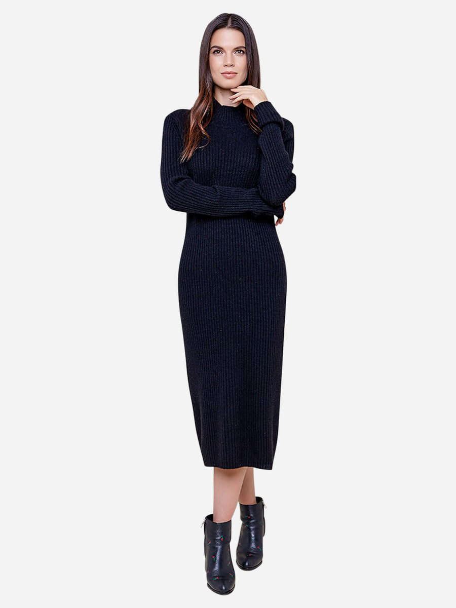 Long Sleeve Turtleneck Cashmere Sweater Dress