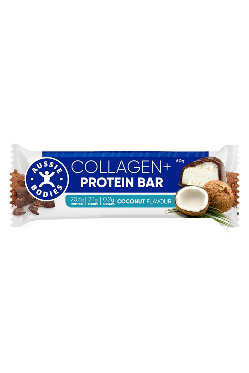 AUSSIE BODIES Collagen + Protein Bar Coconut Bar 60g - Life Pharmacy St Lukes