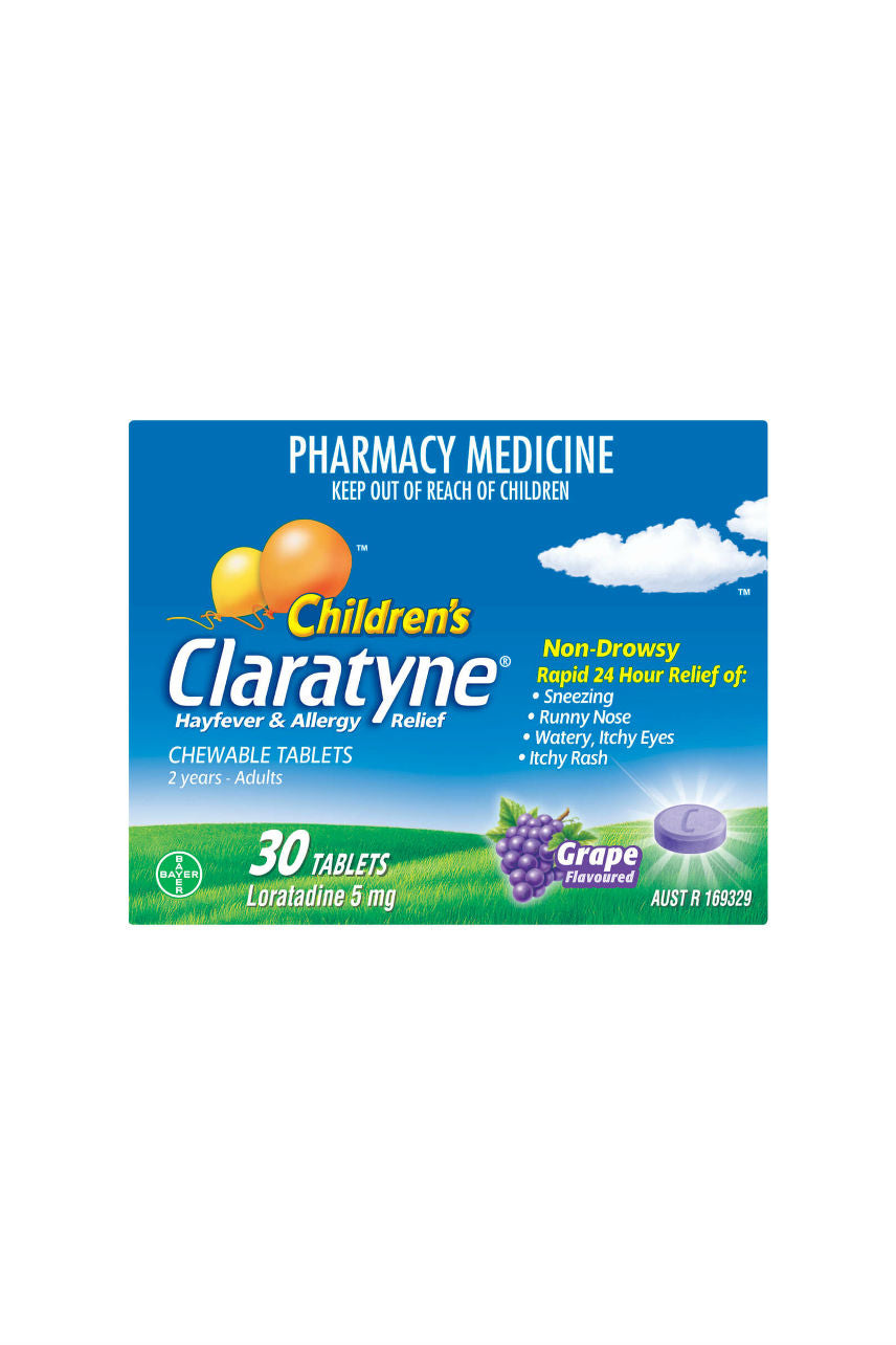 CLARATYNE Child Chewable Grape 5mg 30tabs - Life Pharmacy St Lukes