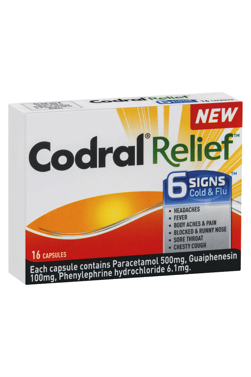 CODRAL Relief 6 Signs Cold & Flu Caps 16 - Life Pharmacy St Lukes