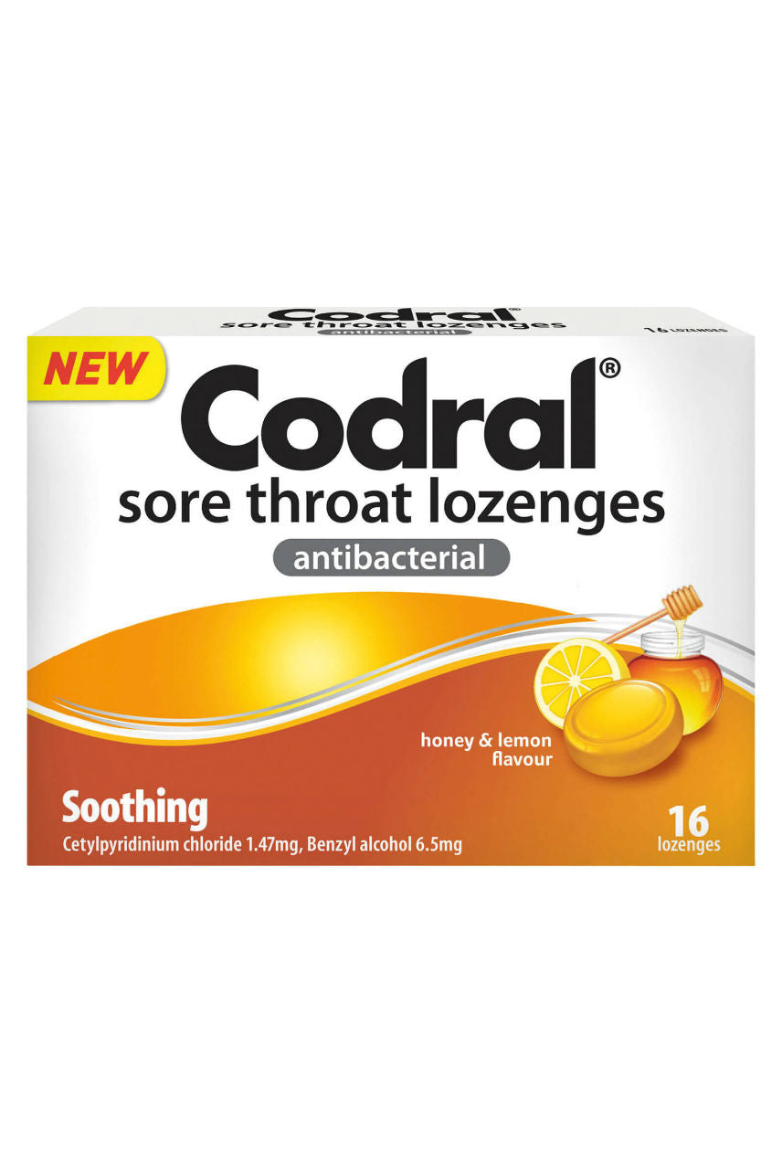CODRAL Sore Throat Lozenge Honey & Lemon 16 - Life Pharmacy St Lukes