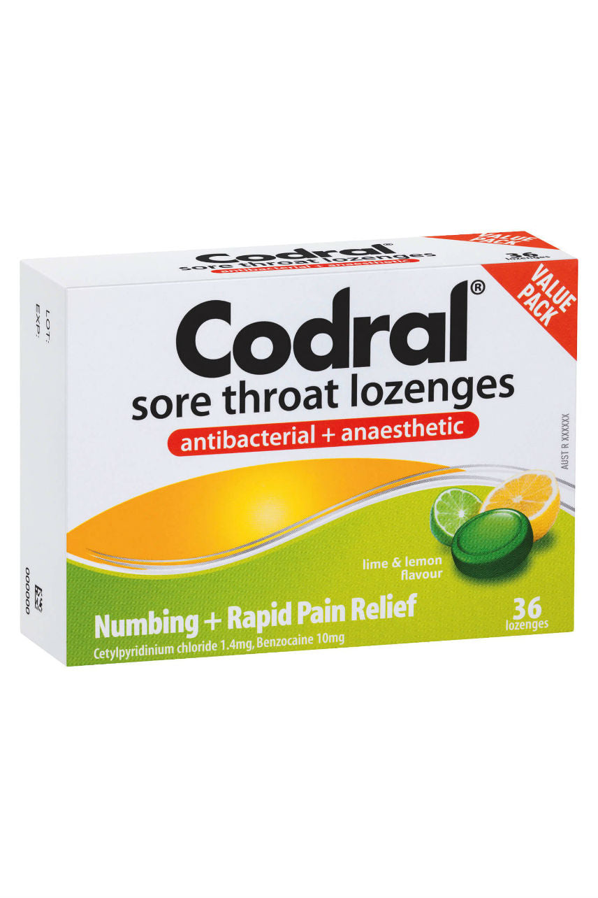 CODRAL Sore Throat Lozenge Lime & Lemon 36 - Life Pharmacy St Lukes