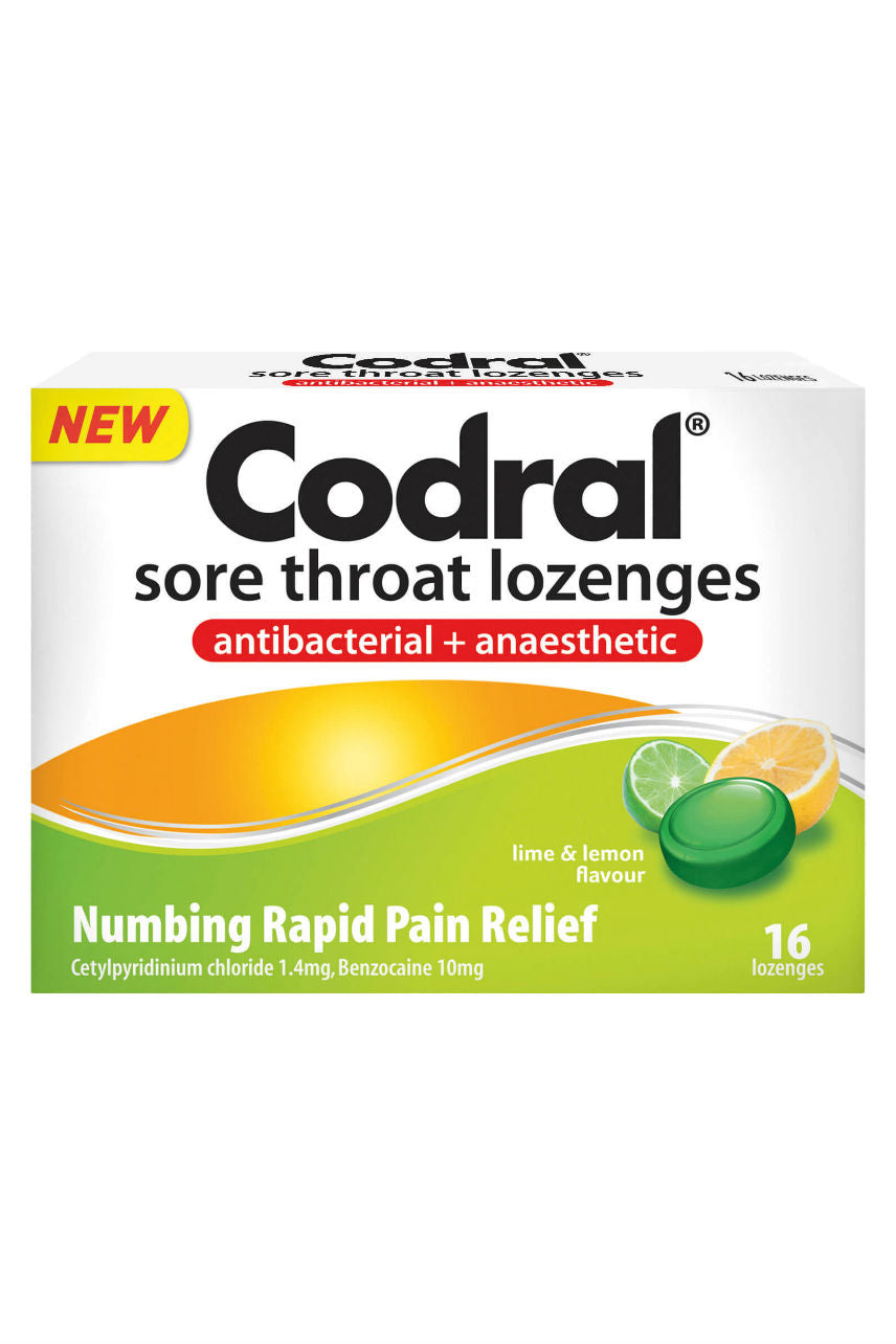 CODRAL Sore Throat Lozenge Lime & Lemon 16 - Life Pharmacy St Lukes