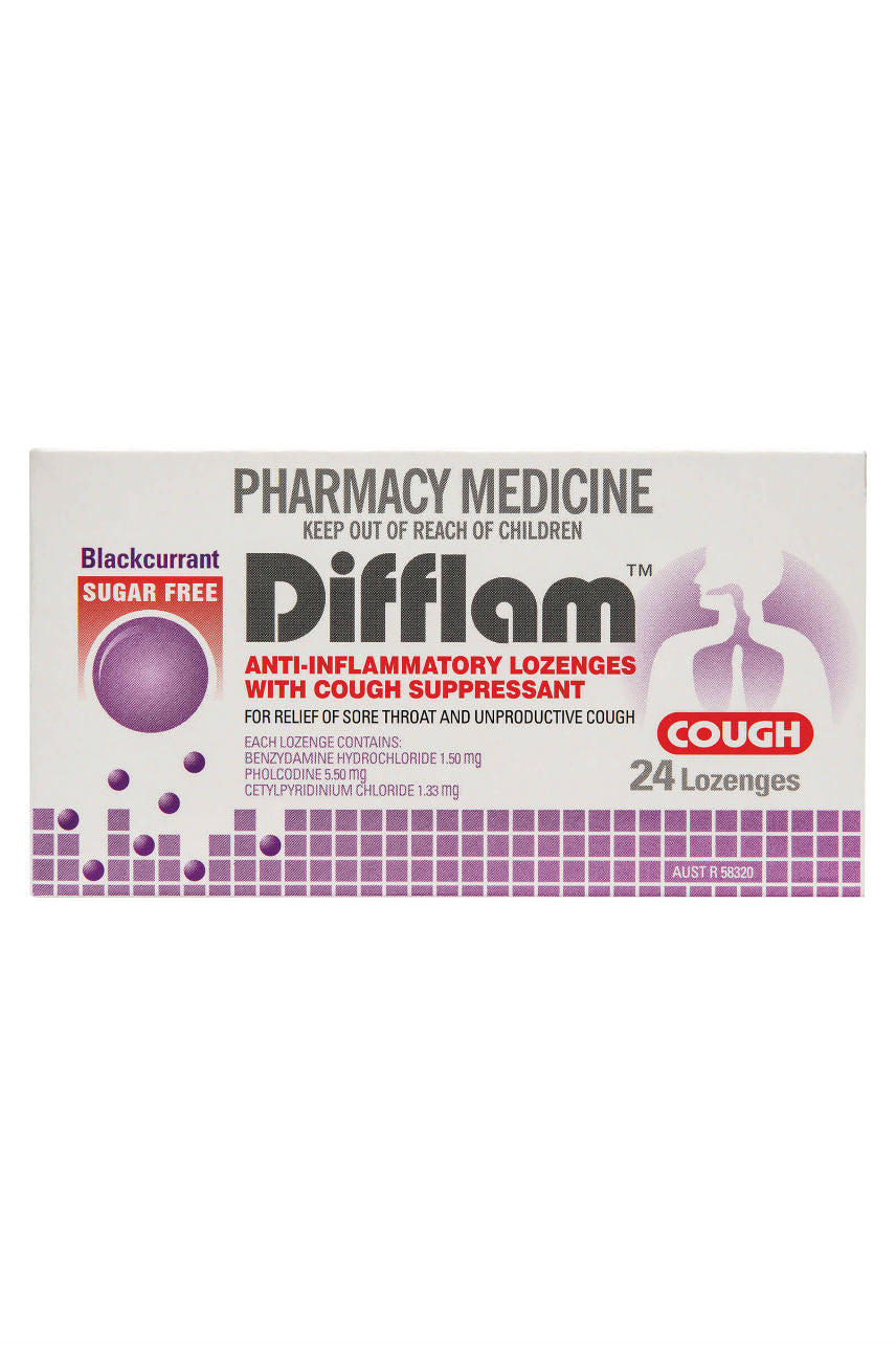 DIFFLAM Cough Lozenge Blackcurrant Sugar Free 24 - Life Pharmacy St Lukes
