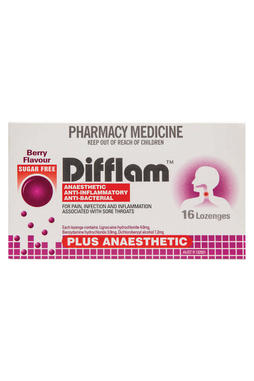 DIFFLAM Lozenge Plus Anaesthetic Berry 16s - Life Pharmacy St Lukes