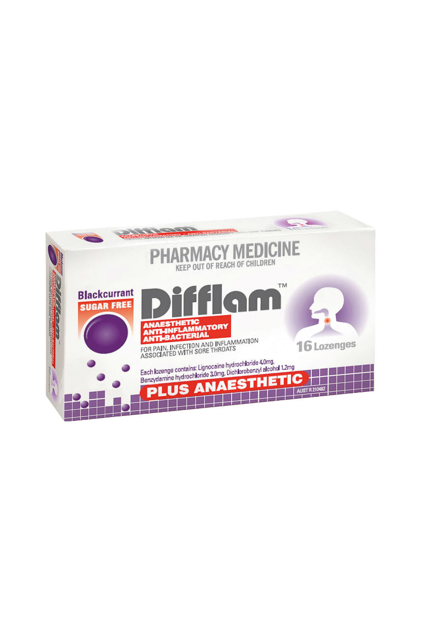 DIFFLAM Lozenge Plus Anaesthetic Blackcurrant 16s - Life Pharmacy St Lukes