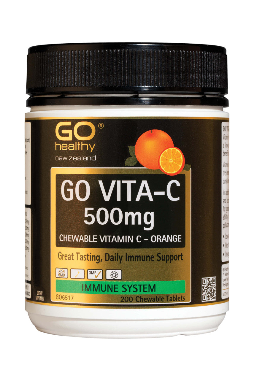 GO HEALTHY Vita-C 500mg Orange 200 Chewable Tablets - Life Pharmacy St Lukes