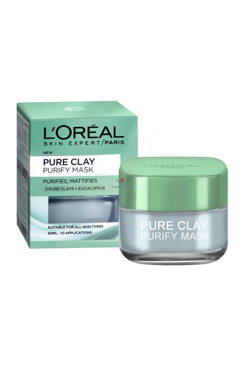 L'Oreal Pure Clay Purifying Eucalyptus Mask 50ml - Life Pharmacy St Lukes
