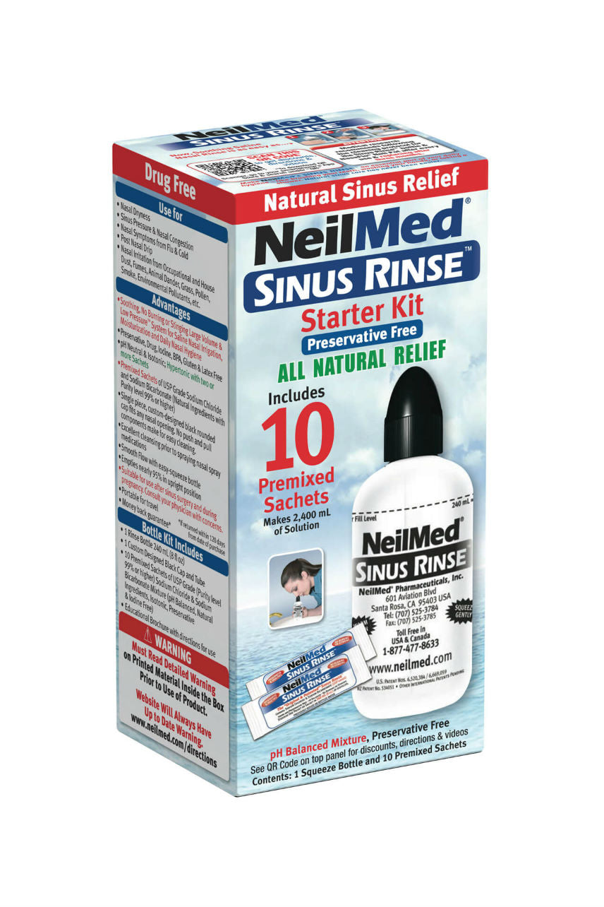 NEILMED Sinus Rinse Kit 240ml Bottle + 10 Sachets Start Kit - Life Pharmacy St Lukes