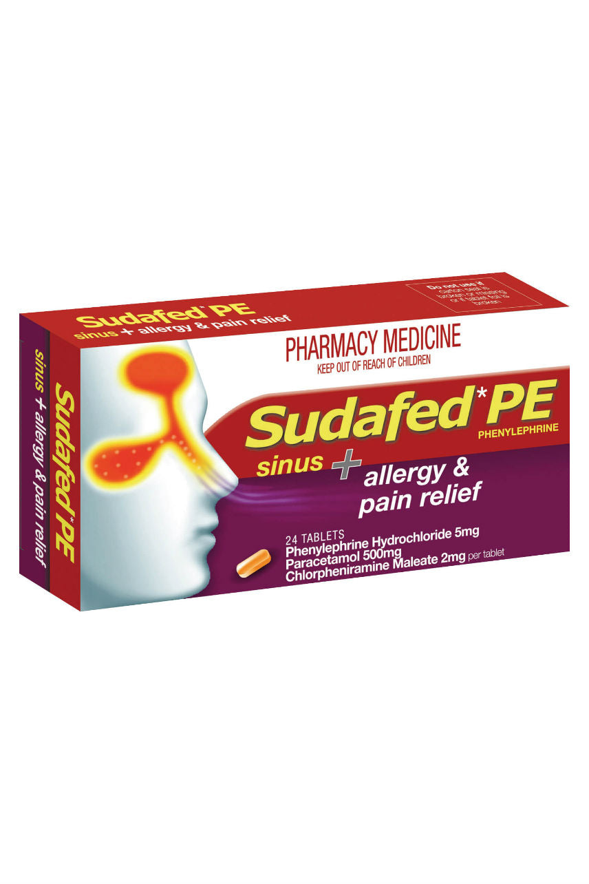 SUDAFED PE Sinus Allergy & Pain 24 Tabs - Life Pharmacy St Lukes