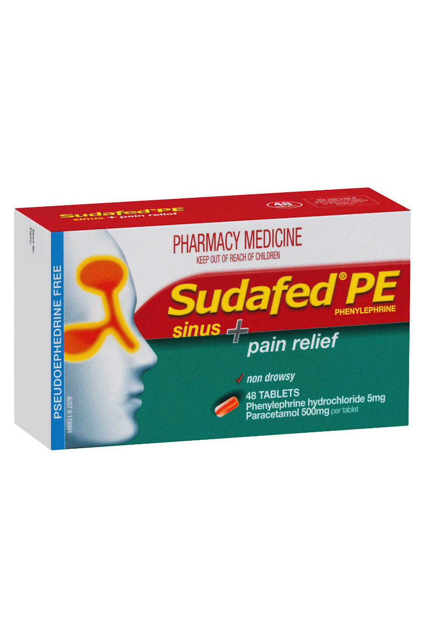 SUDAFED PE Sinus + Pain Relief 48 Tabs - Life Pharmacy St Lukes