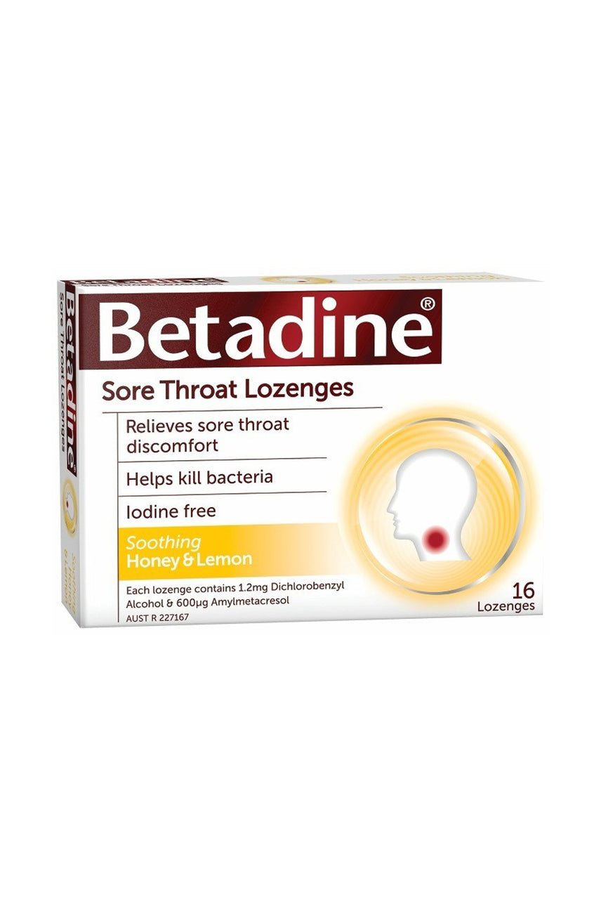 BETADINE Sore Throat Lozenges Honey & Lemon 16 - Life Pharmacy St Lukes