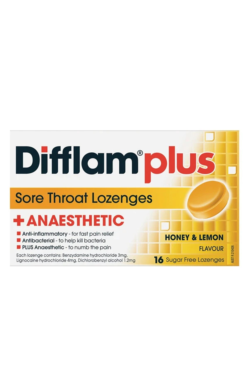 DIFFLAM Lozenge Plus Anaesthetic Honey & Lemon 16s - Life Pharmacy St Lukes