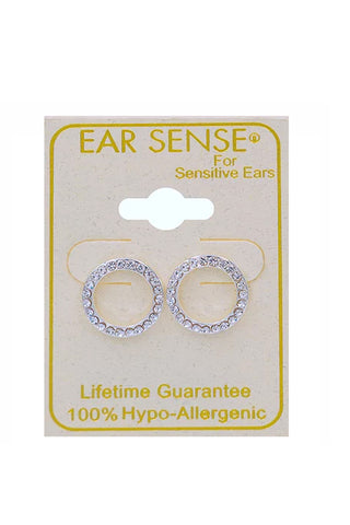 EarSense CH248 Silver Crystal Circle Studs - Life Pharmacy St Lukes