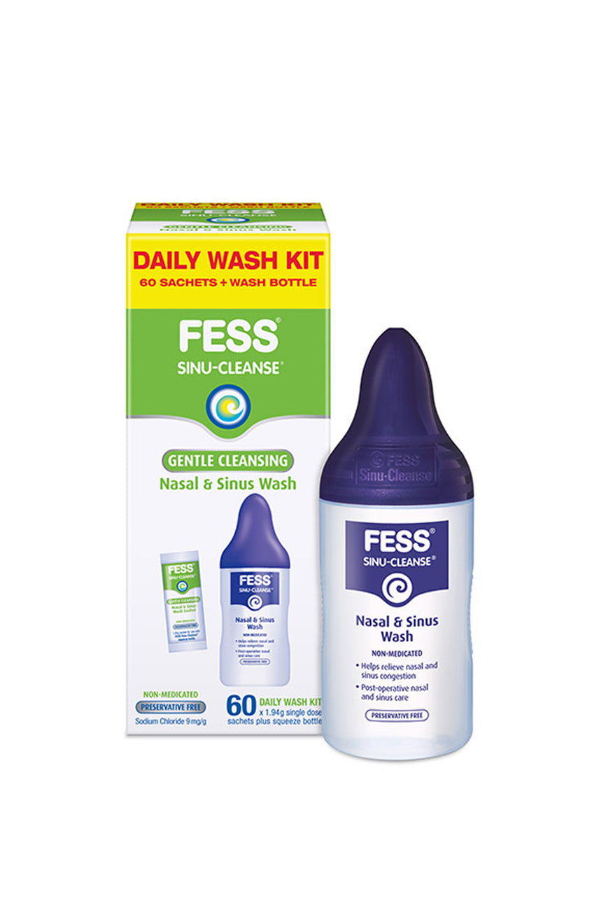 FESS® Sinu-Cleanse Gentle Cleansing Daily Wash Kit 60 x 1.94g sachet plus Wash bottle Kit - Life Pharmacy St Lukes