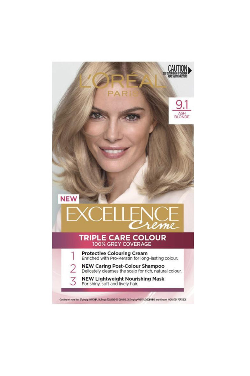 L'Oreal Excellence Crème Hair Colour 9.1 Light Ash Blonde - Life Pharmacy St Lukes