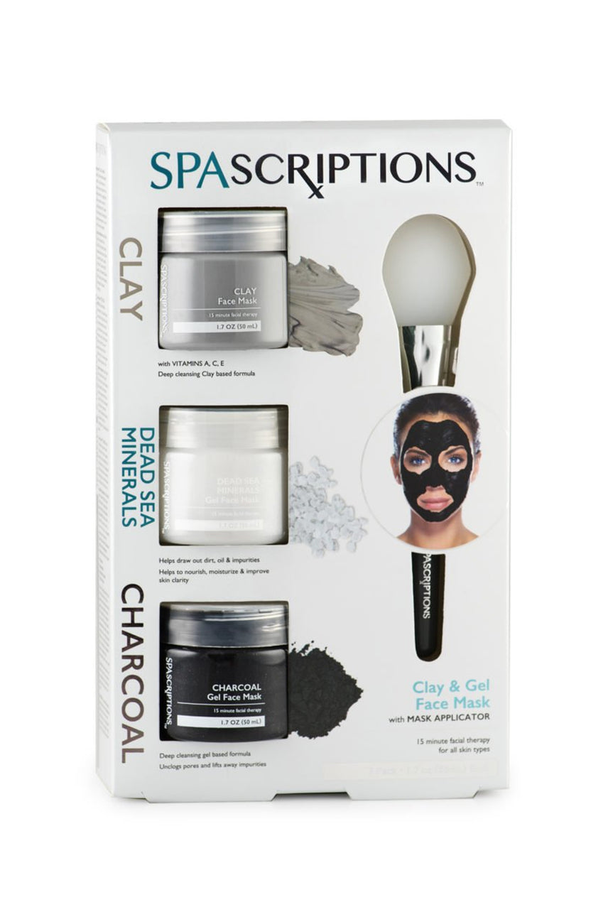 SpaScriptions Clay, Dead Sea Minerals & Charcoal Gel Face Mask 3x50ml - Life Pharmacy St Lukes
