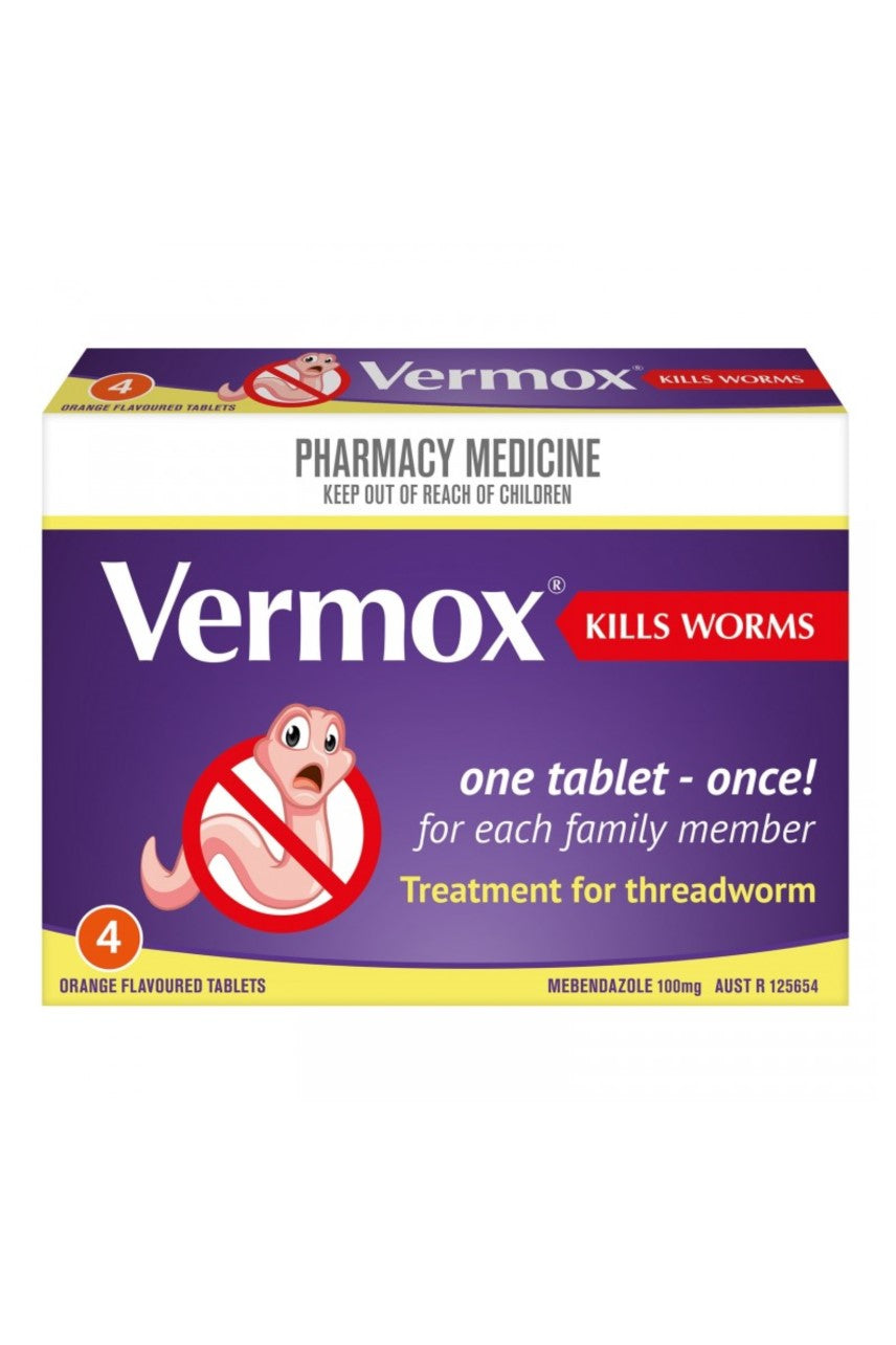 VERMOX Tabs 100mg 4 - Life Pharmacy St Lukes