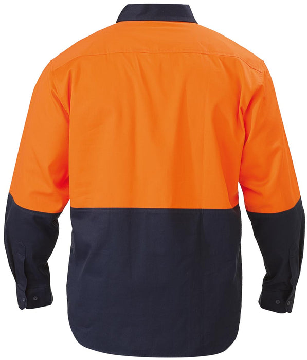 Bisley 2 Tone Hi Vis Drill Shirt - Long Sleeve - Orange/Navy (BS6267) - Trade Wear