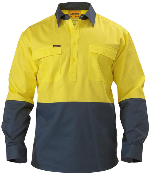 Bisley Bisley 2 Tone Closed Front Hi Vis Drill Shirt - Long Sleeve - Yellow/Bottle (BSC6267) - Trade Wear