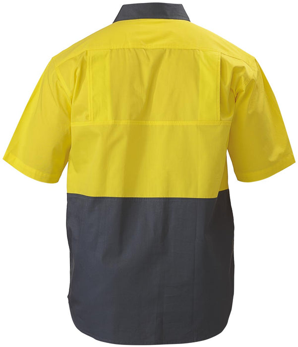 Bisley Bisley 2 Tone Cool Lightweight Drill Shirt - Short Sleeve - Yellow/Bottle (BS1895) - Trade Wear