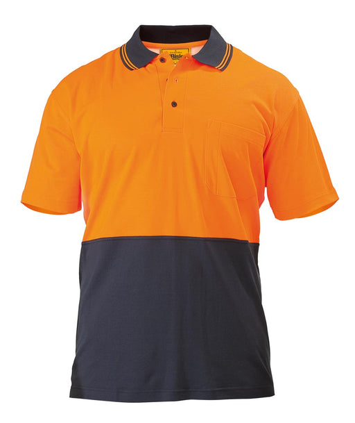 Bisley 2 Tone Hi Vis Polo Shirt - Short Sleeve - Orange/Navy (BK1234) - Trade Wear