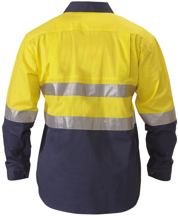Bisley Bisley 2 Tone 3M Hi Vis Lightweight Closed Front Shirt -Long Sleeve-Yellow/Navy (BSC6896) - Trade Wear