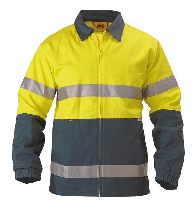 2 Tone Hi Vis Drill Jacket 3M Reflective Tape - Yellow/Bottle - Trade Wear