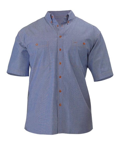 Bisley Chambray Shirt - Short Sleeve - Blue (B71407) - Trade Wear