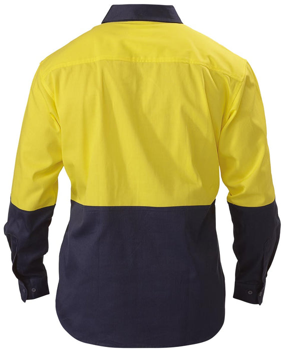 Bisley Bisley 2 Tone Closed Front Hi Vis Drill Shirt - Long Sleeve - Yellow/Navy (BSC6267) - Trade Wear