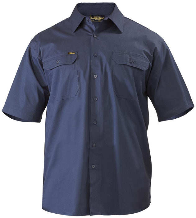 Bisley Cool Lightweight Drill Shirt - Short Sleeve - Navy (BS1893) - Trade Wear