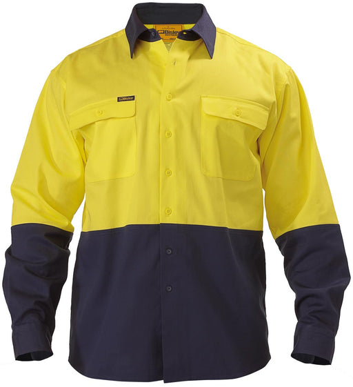 Bisley 2 Tone Hi Vis Drill Shirt - Long Sleeve - Yellow/Navy (BL6267) - Trade Wear