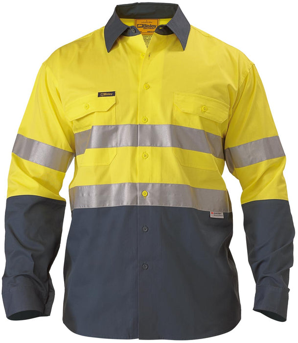 Bisley Bisley 2 Tone 3M HiVis Lightweight Gusset Cuff Shirt -Long Sleeve-Yellow/Bottle (BS6896) - Trade Wear