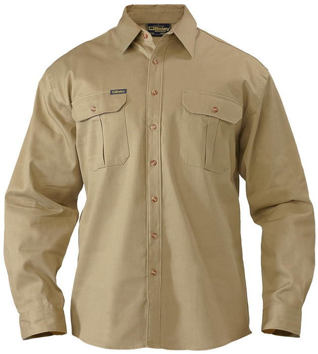 Bisley Original Cotton Drill Shirt - Long Sleeve - Khaki (BS6433) - Trade Wear