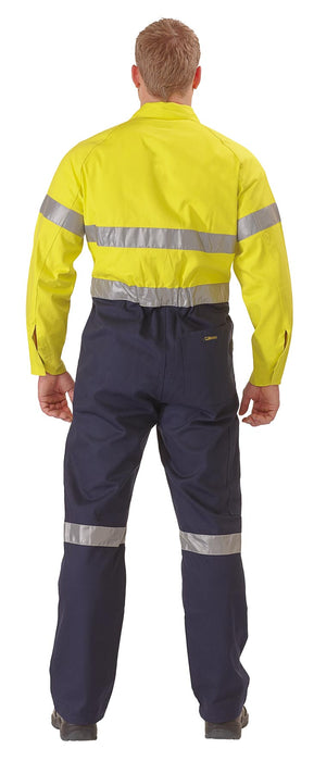Bisley Bisley 2 Tone Hi Vis Lightweight Coveralls 3M Reflective Tape - Yellow/Navy (BC6719TW) - Trade Wear