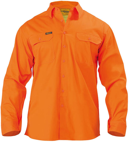 Bisley Cool Lightweight Gusset Cuff Hi Vis Drill Shirt - Long Sleeve - Orange (BS6894) - Trade Wear