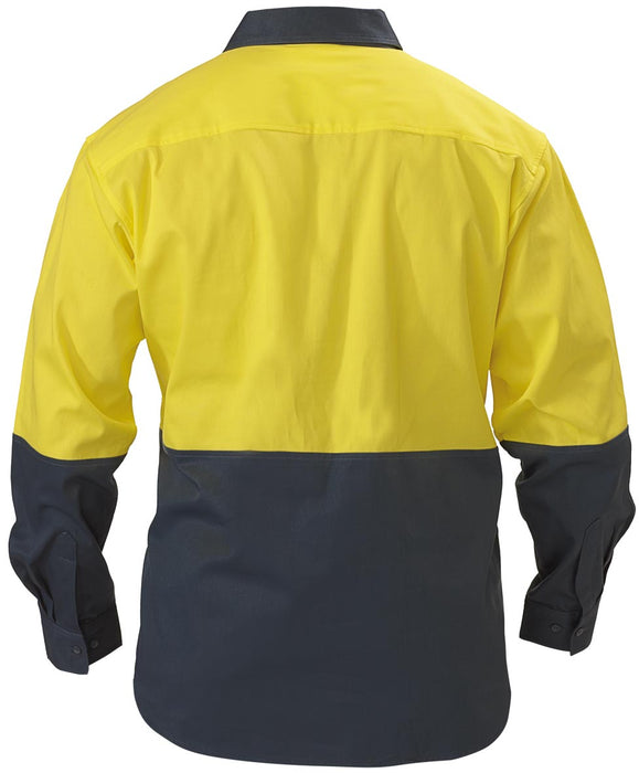 Bisley 2 Tone Closed Front Hi Vis Drill Shirt - Long Sleeve - Yellow/Bottle (BSC6267) - Trade Wear