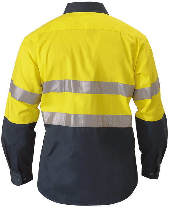 Bisley 2 Tone Hi Vis Shirt 3M Reflective Tape - Long Sleeve - Yellow/Bottle (BT6456) - Trade Wear