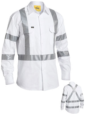 Bisley 3M Taped White Drill Shirt (BS6807T) - Trade Wear