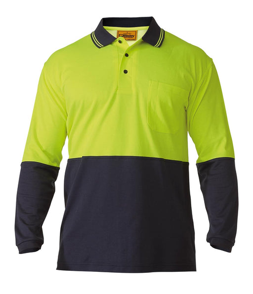 Bisley 2 Tone Hi Vis Polo Shirt - Long Sleeve - Yellow/Navy (BK6234) - Trade Wear
