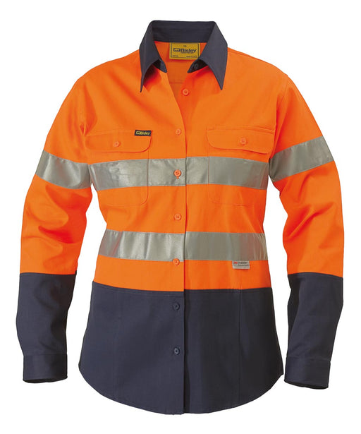2 Tone 3M Ladies Hi Vis Drill Shirt - Long Sleeve - Orange/Navy